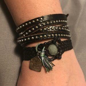 Jewelry - Leather bead bracelet & leather wrap bracelet set